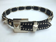 Vintage Nanni (Maker of Versace's Belts) Unisex Metal & Black Leather Belt