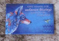 LEANIN TREE Messenger~Wolf/Hummingbird~Give Thanks #67297 Magnet~Micqaela Jones~