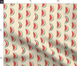 Watermelon Red Green Fruit Summer Watercolor Spoonflower Fabric by the Yard