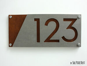 Modern House Numbers, Concrete with Marine Plywood -  Sign Plaque - Door Number