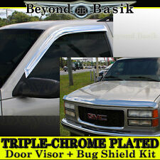 1988-1998 Chevy C K 1500 2500 3500 2PC Chrome Door Visors + Chrome Bug Shield