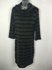 BNWT WOMENS M&S COLLECTION GREY STRIPE ROLL NECK LONG SLEEVE JUMPER DRESS UK 10