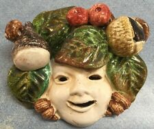 Tuscan Pottery-Della Robbia style Mask.Made/Painted by hand in Italy