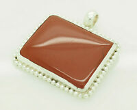 Vintage Sterling Silver/925 Polished Natural Red Jasper Bezeled Pendant
