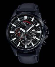 EFV-530BL-1A Black Edifice Casio Men's Watches Genuine Leather Band