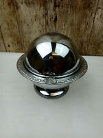 Vintage Chrome Plated Muffin Swing Lid Serving Dish & Opaque Glass Liner