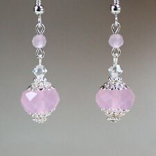 Light pink crystal vintage silver drop dangle earrings wedding bridesmaid gift