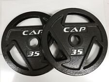 """Brand New CAP 35 lb 2"""" Olympic Weights Plate Set - 70 lb Total - Black"""