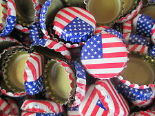 100 Crimped American Flag Beer Bottle Caps (No Dents). Free Shipping