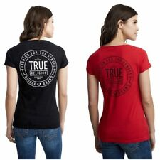 True Religion Women's True Crest Rounded V-Neck Tee T-Shirt w/ Crystal Accent