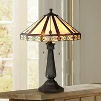 Tiffany Style Table Lamp Art Deco Bronze Octagonal Glass for Living Room Bedroom