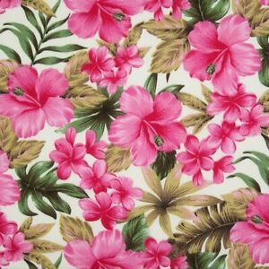 100% Cotton Poplin Rose & Hubble Fabric PINK TROPICAL LILY Floral Material