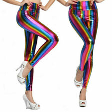LADIES KIDS RAINBOW FAUX LEATHER SHINY METALLIC STRETCH LEGGINGS PANTS CUSTUMES