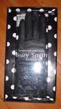 Womens Suzy Smith Black Leather Ruch Gloves M/L BNIB