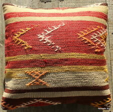 (40*40cm, 16inch) Boho style vintage kilim cushion cover red yellow cream