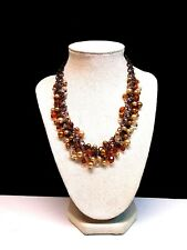 Black Chain Link Bib Necklace w Gold Beads