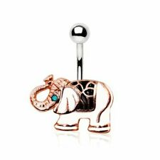 White Elephant Navel Ring Rose Gold Plated 316L Stainless Steel