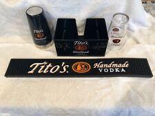 TITO'S HANDMADE VODKA BLACK BAR SET..4 ITEMS.....NEW!!!!!