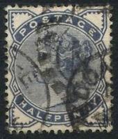GB QV 1883-4 SG#187, 1/2d Slate-Blue Used #D14376