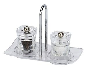 Peugeot Baltic Salt & Pepper Grinder Mill Set with Tray Clear Transparent Lucite