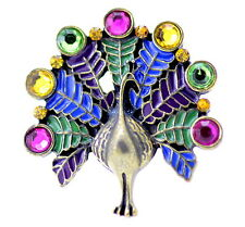 Vintage retro style tail display enamel and crystal peacock bird ring. UK Size O