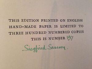 Siegfried Sassoon - Memoirs of a Fox Hunting Man - 1929 SIGNED Ltd Ed in Jacket