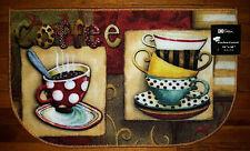 NWT POLKA DOT COFFEE CUP TEA CAFE KITCHEN MAT FLOOR RUG RED TURQUOISE AQUA  18x30
