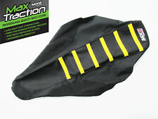 SUZUKI RM125 RIBBED GRIPPER SEAT COVER BLACK WITH YELLOW STRIPES RIBS MOTOCROSS