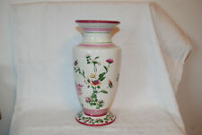 "Pretty LAURA ASHLEY HOME Pottery VASE 9 1/2"" Pink & Green Floral Decor"