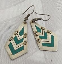 Mexico Dangle Earrings Splendid Tribal Green Stone