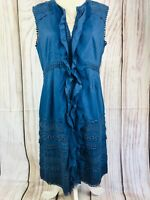 DERHY Blue Ruffle Front Embroidered Sleeveless Cotton Dress Size Medium