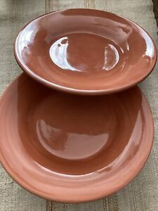 "POTTERY BARN - SAUSALITO - Spice (Terra Cotta) - 12"" Dinner Plates - set of 2"