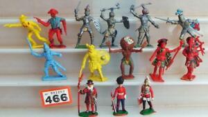 #466 Vintage Cherilea + other plastic figures Knights Cowboys Highlanders etc