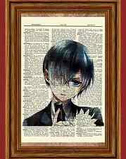 Ciel Phantomhive Dictionary Art Print Anime Picture Kuroshitsuji Black Butler