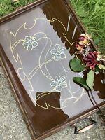 ART NOUVEAU LARGE WOODEN-GLASS TOP TRAY-3 STYLISED FLOWERS- NOUVEAU GOLD PATTERN