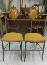 Coppia sedie ottone Chairs brass Vintage Tappezzeria originale mod. Extra Lusso