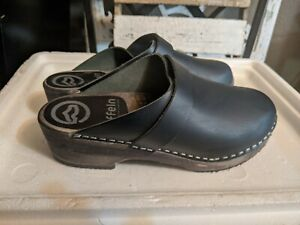 World Of Clogs AM-Toffeln Navy Leather And Wood Clogs Euro Size 42/10-10.5