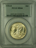 1938-D Walking Liberty Half Dollar 50c Silver Coin PCGS MS-66 JAB