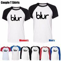 Blur Logo Music Rock Band Ringer Couple T-Shirt Men's Women's Graphic Tee Tops