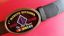 Vietnam Veteran 1st MARINE DIVISION Epoxy Belt Buckle &Black bonded Leather belt
