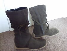WOMEN'S SUPERB STYLISH CHEROKEE BROWN SUEDE CALF-LENGTH BOOTS UK 5 EUR. 38