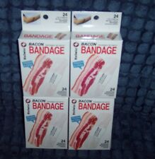 4 NEW BOXES 24 CT BACON ADHESIVE BANDAGES BAND-AIDS - BAND-AIDS LOOK LIKE BACON!