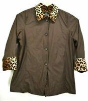 Dennis Basso Women's 3X Plus Size Cheetah Print Fuzzy Brown Heavyweight Coat