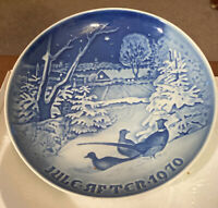 1970 JULE AFTER Pheasants in the Snow at Christmas Plate B&G Denmark Blue Plate