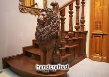 Lion Newel Post, Wood carved sculpture, Staircase Column Post