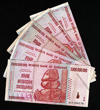 5 Billion Zimbabwe Dollars x 5 Banknotes AA AB 2008 Currency Paper Money Lot 5PC