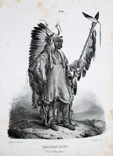 Karl Bodmer Mandan Indianer Dakota Natives Häuptling Sioux Missouri Speer Pelz