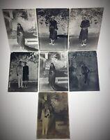 Lot de 7 anciens négatifs photos sur plaques de verre dans boîte d'origine 1930