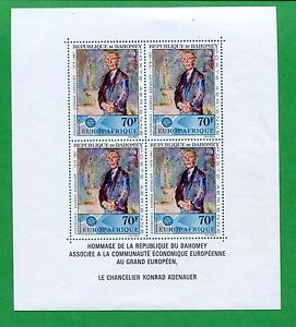 1967 Dahomey Airmail Postage Stamp Souvenir Sheet #C58a Mint VF Konrad Adenauer