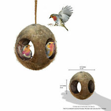 3-Hole Coco Bird Hut Feeder Birdhouse Mini Condo Nesting Home Decor